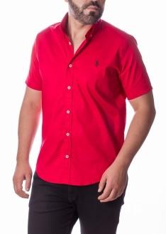 Camisa Ralph Lauren Masculina Manga Curta Custom Fit Algodão Strech Vermelho