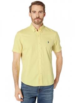 Camisa Ralph Lauren Masculina Manga Curta Custom Fit Classic Icon Cotton Oxford Amarelo