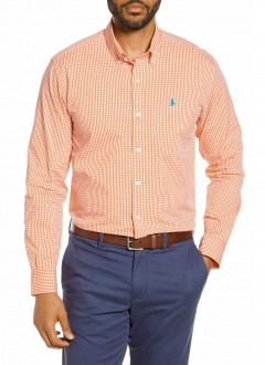 Camisa Ralph Lauren Masculina Quadriculada Plaid Laranja e Branco