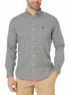 Camisa Ralph Lauren Masculina Slim Fit Quadriculada Checkered Branco e Preto