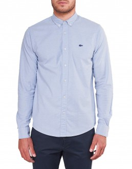 Camisa Lacoste Masculina Regular Cotton Oxford Azul Claro
