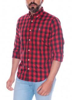 Camisa Ralph Lauren Masculina Slim Fit Poplin Xadrez Preto e Vermelho