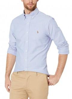 Camisa Ralph Lauren Masculina Custom Fit Logo Colored Oxford Azul Claro