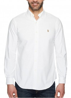 Camisa Ralph Lauren Masculina Custom Fit Logo Colored Oxford Branca
