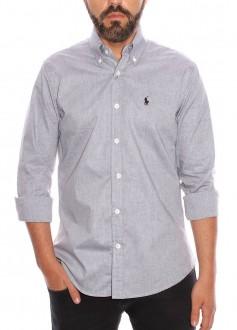 Camisa Ralph Lauren Masculina Custom fit Cotton Cinza