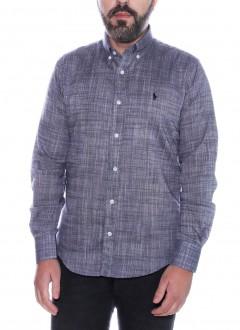 Camisa Ralph Lauren Masculina Custom Fit Machined Fil a Fil Cinza Mescla