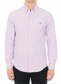 Camisa Ralph Lauren Masculina Custom Fit Basic Lilás