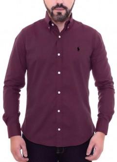 Camisa Ralph Lauren Masculina Custom Fit Tricoline Wine Vinho