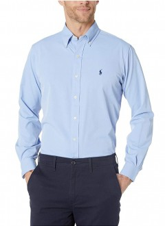 Camisa Ralph Lauren Masculina Custom Fit Azul Claro