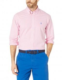 Camisa Ralph Lauren Masculina Quadriculada Plaid Rosa e Branco