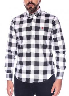 Camisa Ralph Lauren Masculina Slim Fit Xadrez Plaid Branco e Preto
