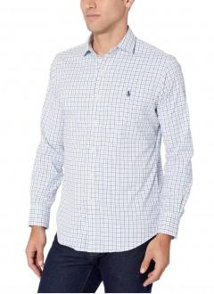 Camisa Social Polo Ralph Lauren Slim Fit Poplin Branco Azul Multicores