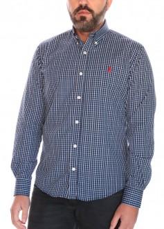 Camisa Ralph Lauren Masculina Slim Fit Icon Red Checkered Xadrez Multicores Azul