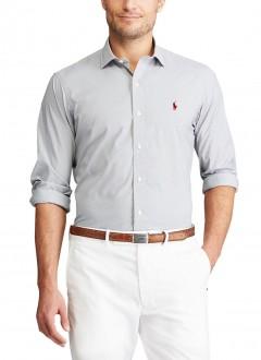 Camisa Ralph Lauren Masculina Custom Fit Machined Fil a Fil CInza Claro