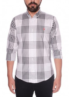 Camisa Ralph Lauren Masculina Custom Fit Xadrez Checkered Branca