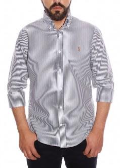 Camisa Ralph Lauren Masculina Slim Fit Logo Colored Striped Preto