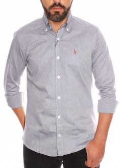 Camisa Social Polo Ralph Lauren Slim Fit Cinza Colored Oxford
