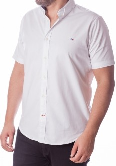 Camisa Tommy Hilfiger Masculina Manga Curta Custom Fit Oxford Branco