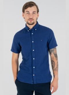 Camisa Tommy Hilfiger Masculina Manga Curta Regular Fit Oxford Azul