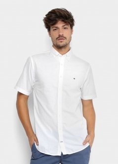 Camisa Tommy Hilfiger Masculina Manga Curta Regular Fit Oxford Branco