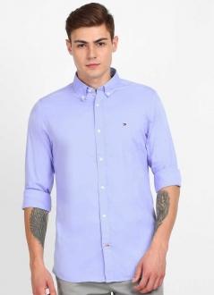 Camisa Tommy Hilfiger Masculina Regular Fit Cotton Tricoline Azul Céu