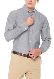 Camisa Tommy Hilfiger Masculina Regular Fit Oxford Cinza
