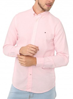 Camisa Tommy Hilfiger Masculina Regular Fit Oxford Rosa