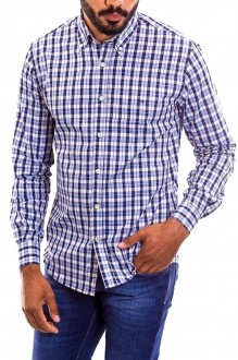 Camisa Tommy Hilfiger Masculina Regular Fit Xadrez Checkered Branco e Preto