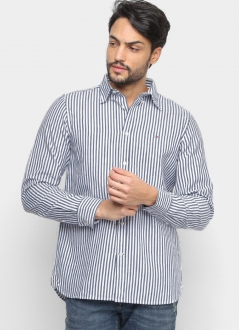 Camisa Tommy Hilfiger Regular Fit Listrada Striped Oxford Azul Marinho