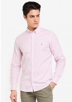 Camisa Tommy Hilfiger Regular Fit Listrada Striped Oxford Rosa