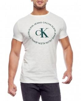 Camiseta Calvin Klein Jeans Masculina Regular Fit Flamê CKJ Off White