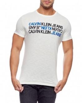 Camiseta Calvin Klein Jeans Masculina Regular Fit Flamê Lettering Off White