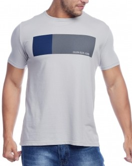 Camiseta Calvin Klein Jeans Masculina Regular Fit Lettering Cinza Claro