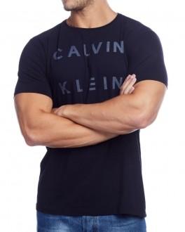 Camiseta Calvin Klein Jeans Masculina Regular Fit Logo Lettering Azul Marinho