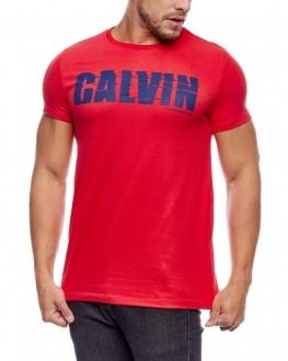 Camiseta Calvin Klein Jeans Masculina Regular Fit Logo Vermelho