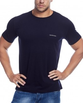 Camiseta Calvin Klein Jeans Masculina Regular Fit Mini Lettering Basic Azul Marinho