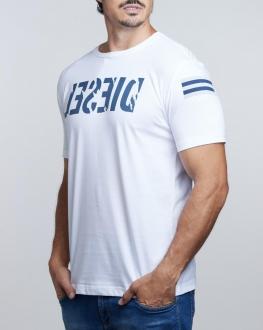 Camiseta Diesel Masculina T-Diego Flag Logo Branco