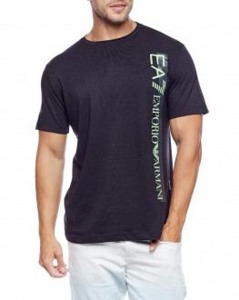 Camiseta Emporio Armani Slim Fit Print EA7 Lettering Preto