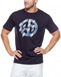 Camiseta Giorgio Armani Classic Print GA Lettering Preto