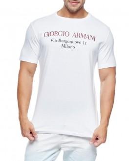 Camiseta Giorgio Armani Classic Via Borgonuovo Milano Branco