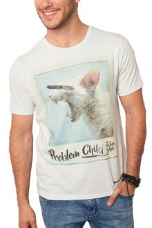 Camiseta John John Masculina Problem Child Creme Off White