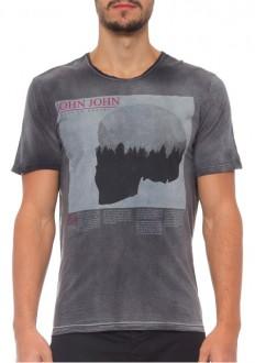 Camiseta John John Masculina RG Wood Skull Cinza