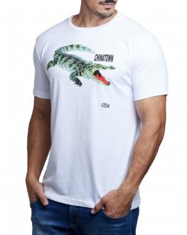 Camiseta Lacoste Live Masculina Colaboração Chinatown Market Branco