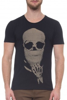 Camiseta Sergio K Masculina Caveira Touca Preto