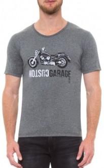 Camiseta Sergio K Masculina Moto Vintage Cinza Escuro