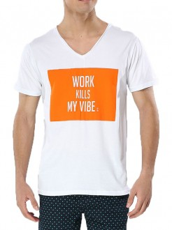Camiseta Sergio K Masculina Work Kills Branco