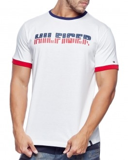 Camiseta Tommy Hilfiger Masculina Custom Fit Lettering American Branco