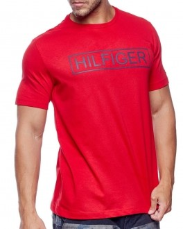 Camiseta Tommy Hilfiger Masculina Custom Fit Lettering Pure Vermelho