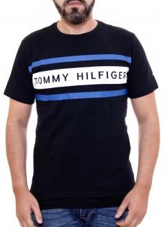 Camiseta Tommy Hilfiger Masculina Preta TH Bordado