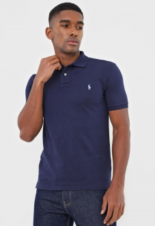 Polo Ralph Lauren Masculina Custom Fit Small Pony Azul Marinho